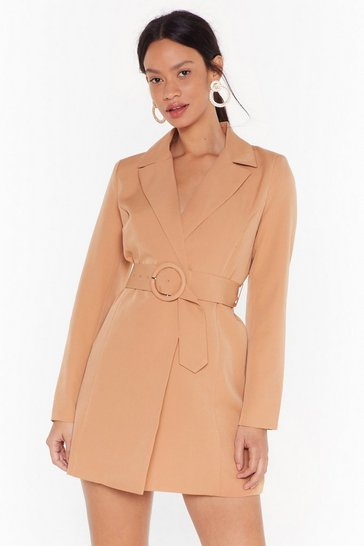 Womens Camel O-Ring It On Longline Blazer