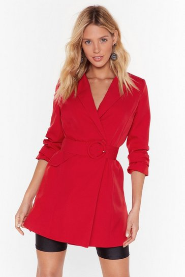Womens Red O-Ring It On Longline Blazer