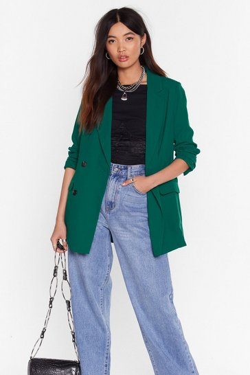 Womens Dark green Business is Business Double Breasted Blazer