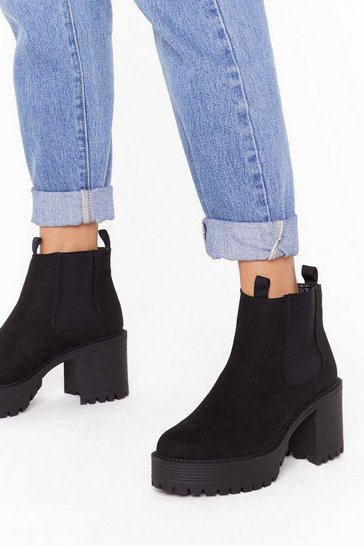 Womens Black We Suede It Faux Suede Chelsea Boots