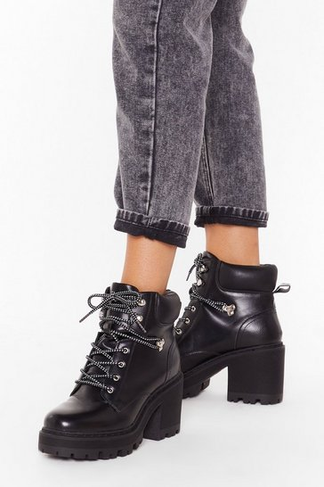 Womens Black Don't Get Cold Feet Faux Leather Hiker Boots