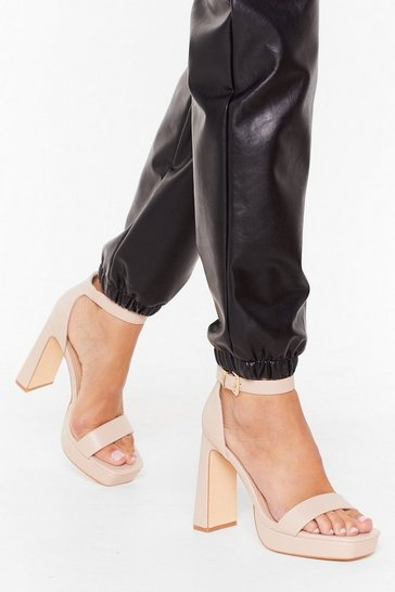 Womens Nude We Don't Flare Anymore Faux Leather Platform Heels