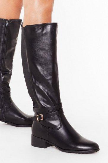 Womens Black Flat stretch buckle side riding boots
