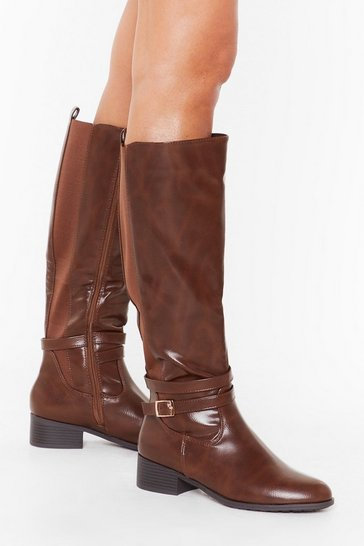 Womens Brown Just Ride It Out Faux Leather Knee-High Boots