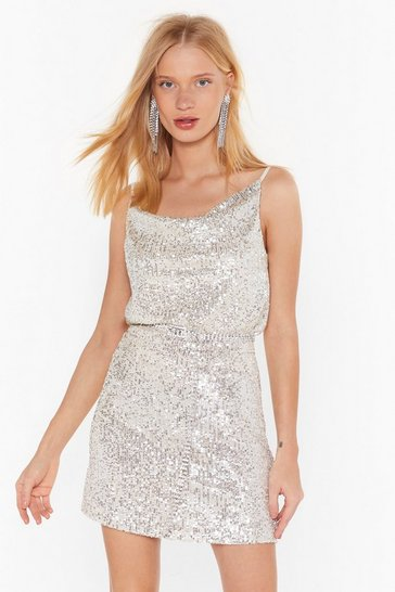Womens Silver Born to Sequin High-Waisted Mini Skirt