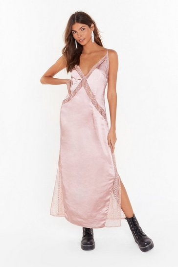 Womens Blush Watch This Lace Satin Maxi Dress