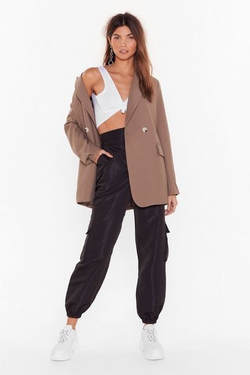 Womens Black Cargo For It High-Waisted Pants