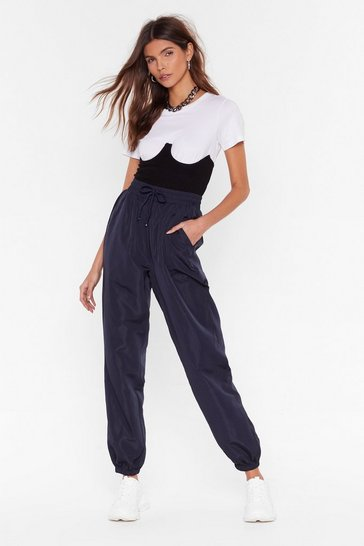 Womens Navy Let Us Jog Your Mind High-Waisted Joggers