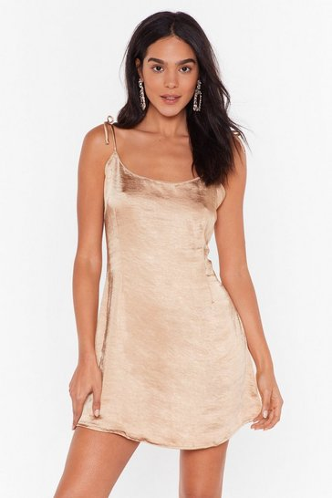 Womens Gold Closing in Satin Mini Dress