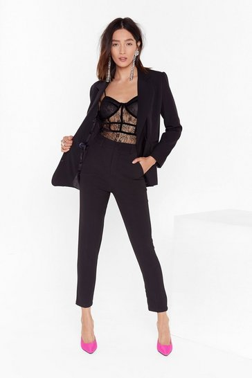 Womens Black Suit Up High-Waisted Pants
