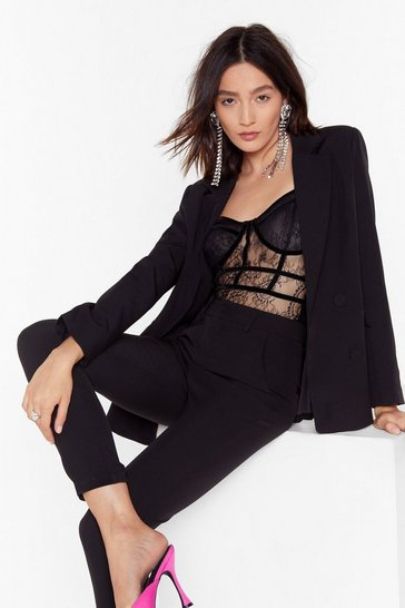 Womens Black Suit Up Double Breasted Blazer