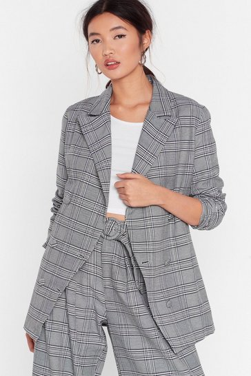 Grey Hey Roomy Check Oversized Blazer