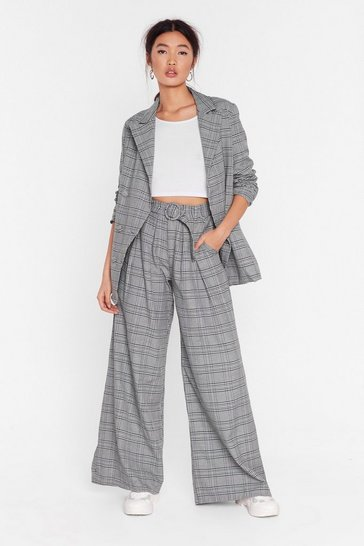 Womens Grey Hey Roomy Check Wide-Leg Pants