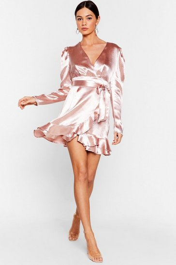 Pale pink How Did That Satin Ruffle Mini Dress