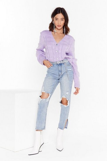 Womens Light blue Let's Split the Difference Distressed Mom Jeans