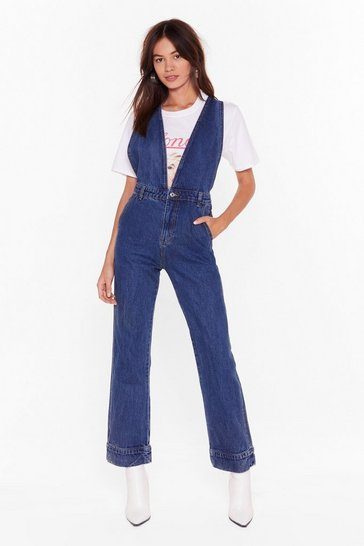 Womens Dark blue Can You Deep a Secret Wide-Leg Denim Jumpsuit