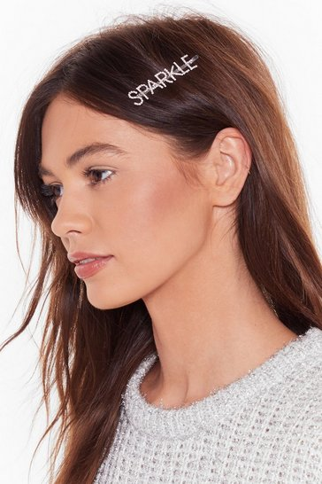 Womens Silver Sparkle diamante hair clip