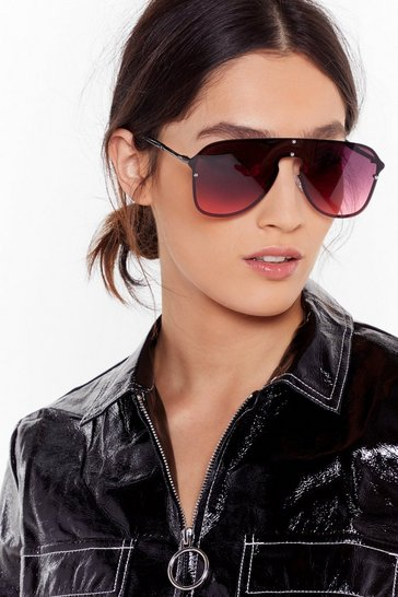 Womens Black Seeing Red Oversized Aviator Sunglasses