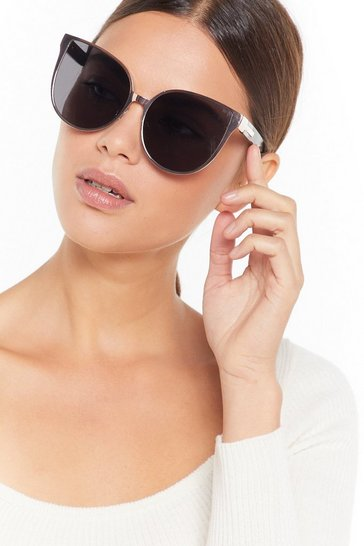 Womens Black Let's Cat This Show On the Road Oversized Cat-Eye Sunglasses