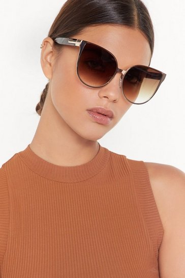 Womens Gold Let's Cat This Show On the Road Oversized Cat-Eye Sunglasses