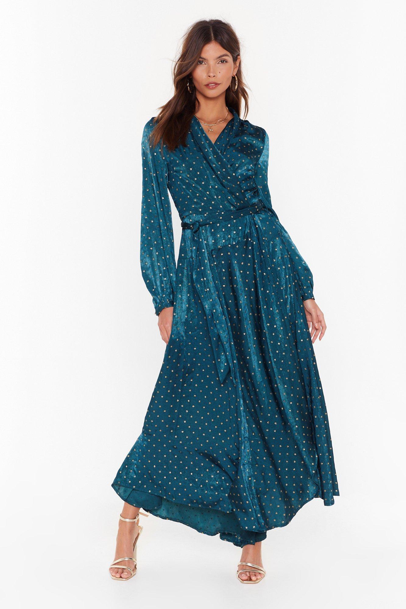 satin spot wrap maxi dress