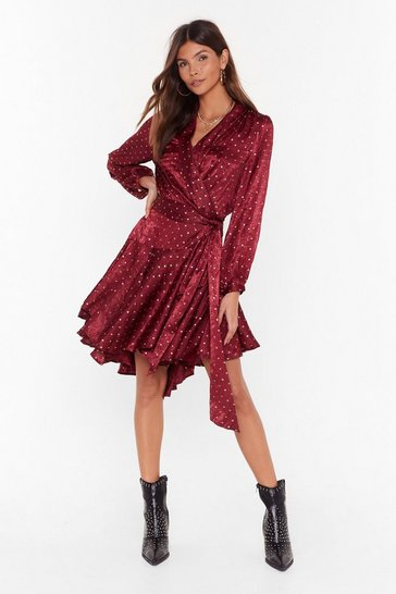 Womens Wine Dot All the Shine in the World Metallic Wrap Dress
