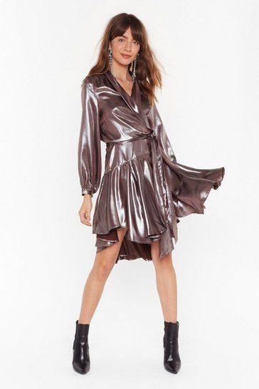 Silver Losing Track of Shine Metallic Wrap Dress