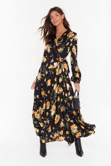 Womens Black Call Me Mother Nature Floral Maxi Dress