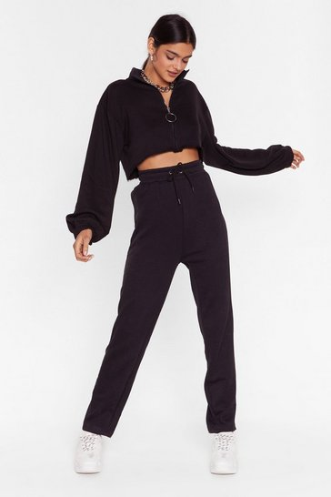 Womens Black Alway's Running High-Waisted Tie Joggers