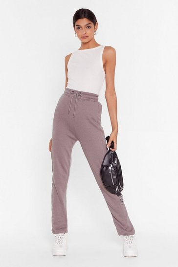 Womens Taupe Alway's Running High-Waisted Tie Joggers