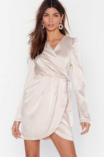 Champagne Tie the Hell Not Satin Wrap Dress