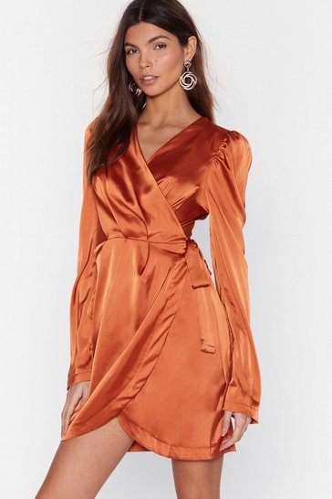 Rust Tie the Hell Not Satin Wrap Dress