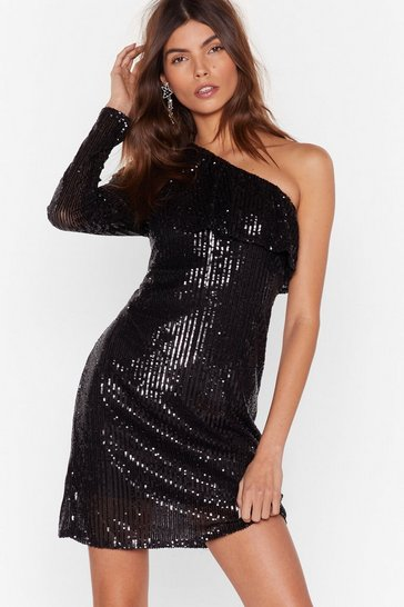 Womens Black Together as One Shoulder Sequin Mini Dress