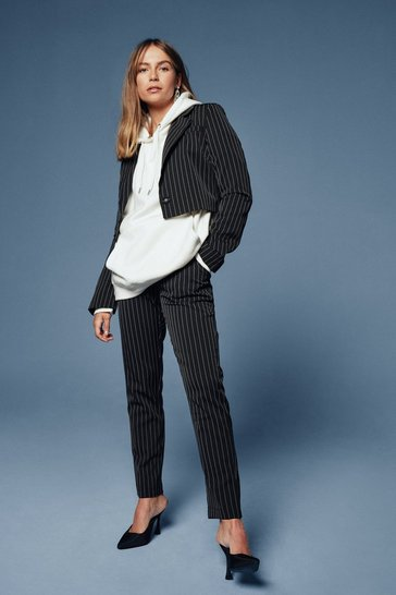 Black Hollaback Girl Pinstripe Tailored Pants