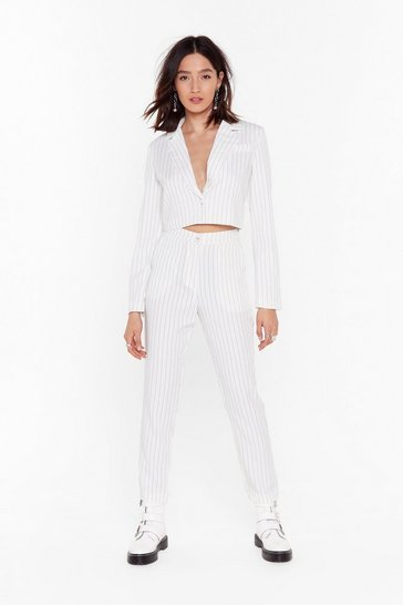 Womens White Hollaback Girl Pinstripe Tailored Pants