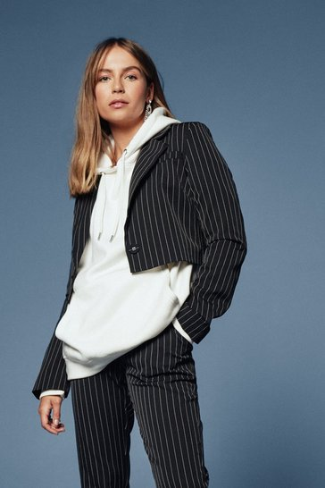 Black Hollaback Girl Pinstripe Cropped Blazer