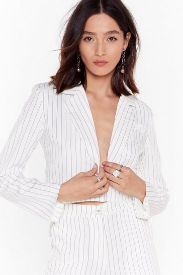 White Hollaback Girl Pinstripe Cropped Blazer