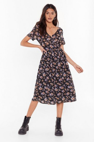 Womens Black Gotta Grow Out Floral Midi Dress