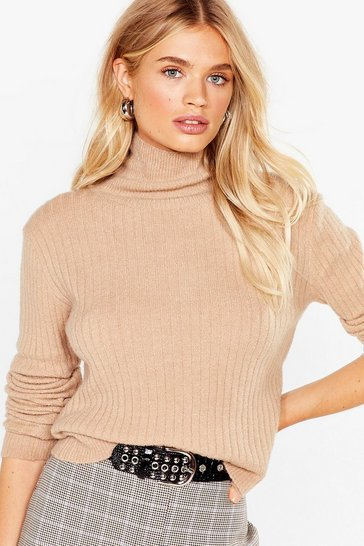 Womens Camel Knit Was Worth Knit Ribbed High Neck Sweater