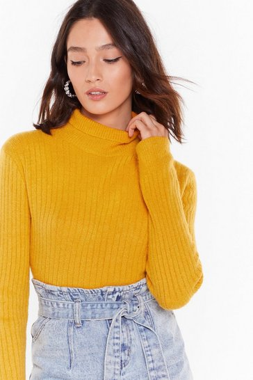 Womens Mustard Knit Was Worth Knit Ribbed High Neck Sweater