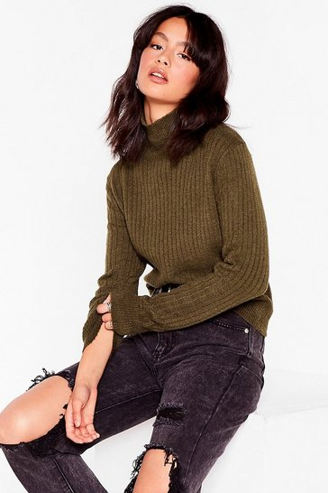 Olive Knit Ribbed High Neck Sweater
