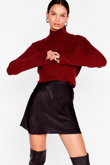 Rust Knit Was Worth Knit Ribbed High Neck Sweater