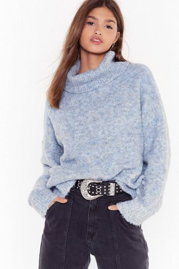 Womens Sky Another Knit Cropped Sweater