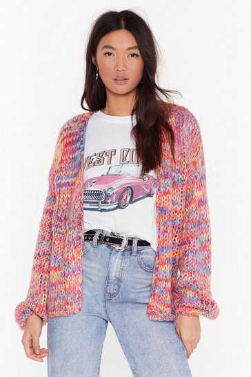 Womens Red What Flavor Multicolored Chunky Knit Cardigan