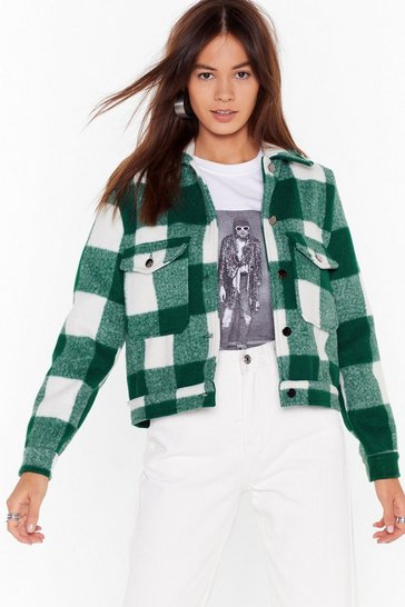 Green Check Back Later Relaxed Jacket