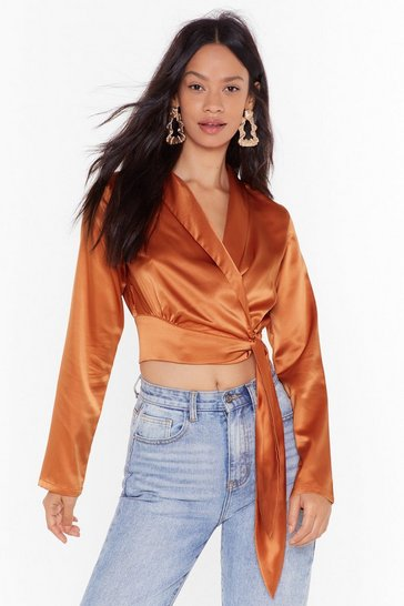 Womens Rust Seven Days a Sleek Satin Cropped Blouse