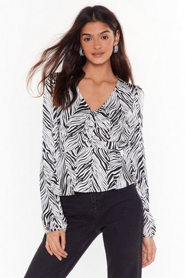 White Fit Stripe In Zebra V-Neck Blouse