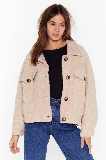 Womens Cream Teddy Fur Trucker
