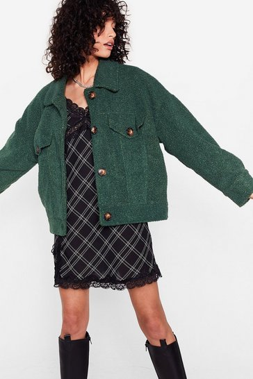 Green Where Fur You Faux Shearling Shirt Jacket