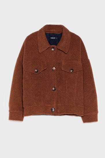 Tan Where Fur You Faux Shearling Shirt Jacket